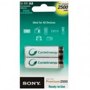 Batterie Ricaricabili Sony Ni-MH, AA, 2500 mAh NH-AAB2GN 1,2 V 2500 mAh (2 pcs) Bianco Verde