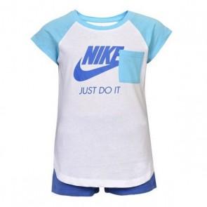 Completo Sportivo per Neonati Nike 919-B9A Azzurro Bianco