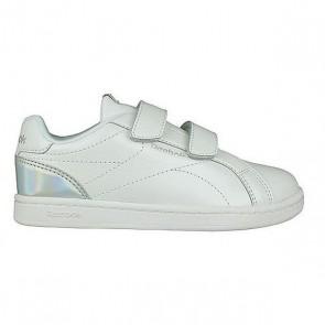 Scarpe da Tennis Casual Bambino Reebok Royal Complete Clean Velcro Bianco Argentato