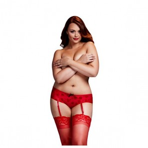 Culotte Open Crotch Rosa Rossa Taglia Grande Baci Lingerie BW3122-REDQS
