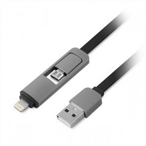 Cavo USB a Lightning 1LIFE 1IFEPA2IN1FLAT (1 m) Nero Grigio
