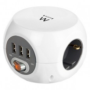 Multipresa Cubo Ewent EW3939 USB 5V 2A Bianco