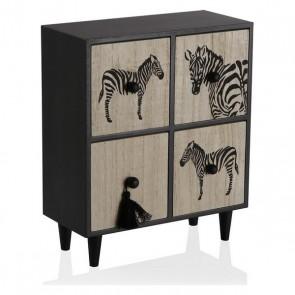 Scatola-Portagioie Legno Zebra 4 casseti