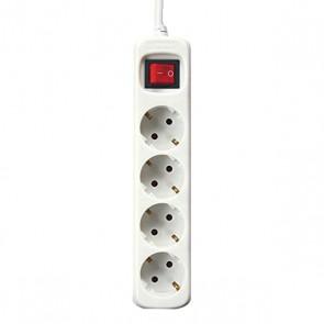 Multipresa con 4 Prese con Interruttore Silver Electronics Bianco