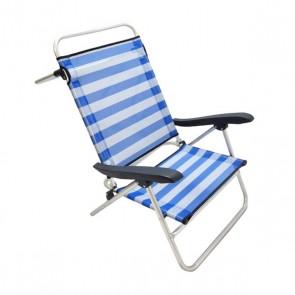 Sedia Pieghevole 113307 Bianco Azzurro (110 X 65 x 95 cm)