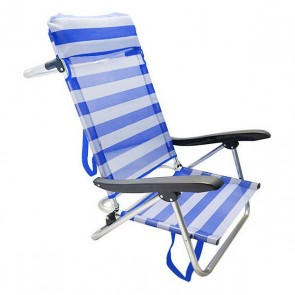 Sedia Pieghevole con Poggiatesta 111531 Azzurro Bianco (65 X 48 x 82 cm)