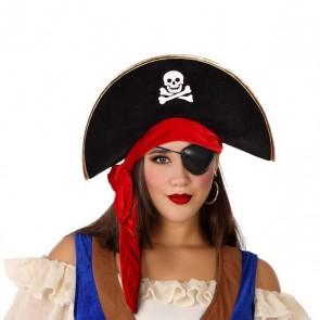 Cappello Pirata Nero Rosso 113904