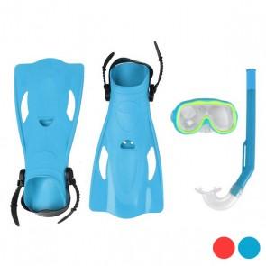 Maschera da Snorkeling con Boccaglio e Pinne Per bambini Pvc