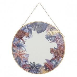 Specchio da parete Dekodonia LEOPARD LIFE Multicolore Metallo Specchio (30 x 1 x 30 cm)
