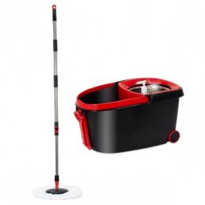 Secchio per Straccio e Strizzatore Automatico Duett 998120 Nero Rosso