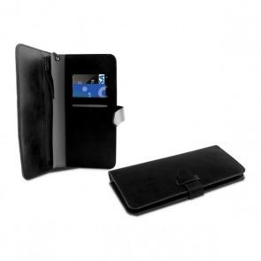 """Custodia Universale a Libro per Cellulare Smartphone 5,5"""" Wallet Nero"""