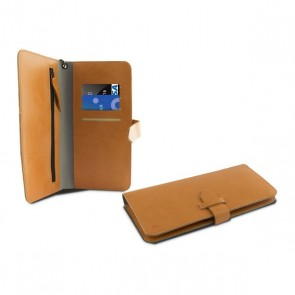 "Custodia Universale a Libro per Cellulare Smartphone 5,5"" Wallet Arancio"