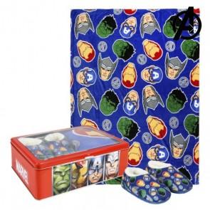 Scatola in Metallo con Coperta e Pantofole The Avengers 73666 (3 pcs) Azzurro