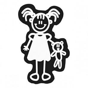 Adesivo per Auto Family Bambina Orsetto di Peluche