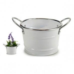 Vaso bianco, argentato (12,5 x 8 x 17,5 cm)