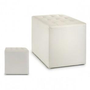 Puff Gift Decor Bianco Pelle (45 x 45 x 45 cm)