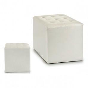 Puff Bianco Pelle (35 x 35 x 35 cm)