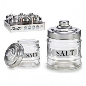Barattolo di Vetro Salt Trasparente Vetro Alluminio (300 ml)