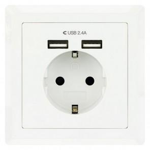 Presa Parete con 2 Porte USB NANOCABLE 10.35.0010 5V/2.4A Bianco