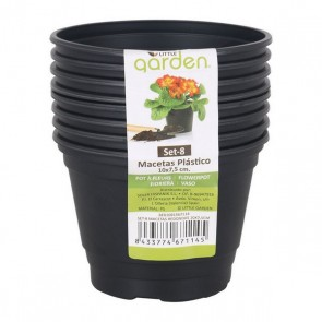 Set di Vasi Little Garden Plastica Nero (8 Uds)