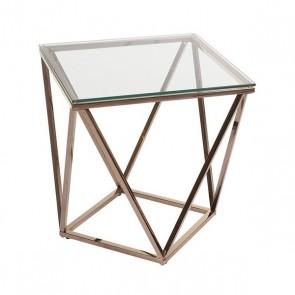 Tavolo Aggiuntivo Acciaio inossidabile Vetro (50 x 50 x 55 cm)