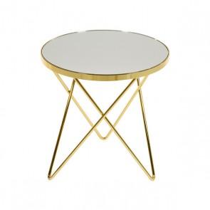 Tavolino Aggiuntivo (43 x 43 x 43 cm) Ottone Specchio Dorato