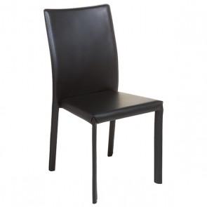 Sedia da Sala da Pranzo Ecopelle Metallo Nero (42 X 45 x 91 cm)