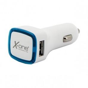 Caricabatterie per Auto Ref. 138406 2 x USB-A Bianco Azzurro