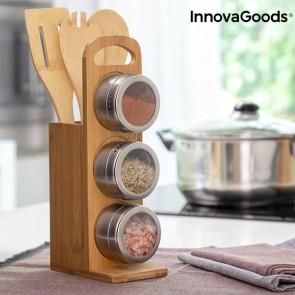 Set di portaspezie magnetici con utensili in bambù Bamsa InnovaGoods 7 Pezzi