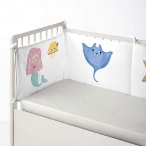 Paracolpi per culla Cool Kids Mermaid (60 x 60 x 60 + 40 cm)