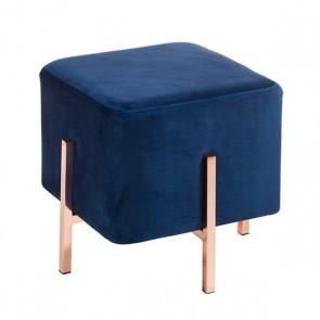 Sgabello (45 x 45 x 43 cm) Velluto Azzurro