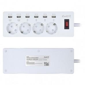 Multipresa con 4 Prese con Interruttore Ewent EW3937 3680W USB Bianco
