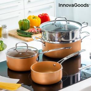 Batteria da Cucina con Vaporiera Copper-Effect InnovaGoods (6 Pezzi)