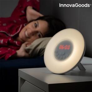 Radio Sveglia con Effetto Alba InnovaGoods LED FM USB Bianco