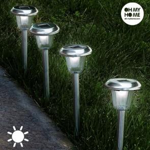Lampada ad Energia Solare Circolare Fiaccola Oh My Home (Pacco da 4)