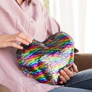 Cuscino Magico con Paillettes Cuore Rainbow