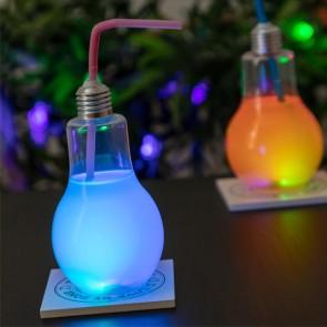 Bicchiere Lampadina con LED e Cannuccia