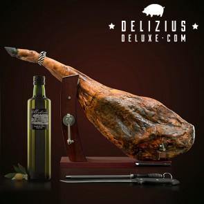 Lotto di Prosciutto + Olio d'Oliva + Porta Prosciutto Gourmet Plus + Coltello e Affilacoltelli