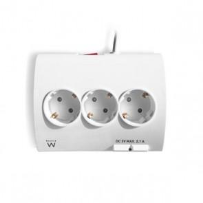 Multipresa 5 Prese con Interruttore Ewent EW3935 1,5 m 2 x USB 2,1 A 2500W Bianco