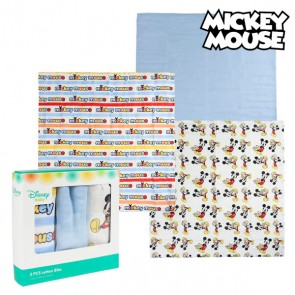 Asciugamano in Mussola Mickey Mouse 75378 Azzurro (Pacco da 3)