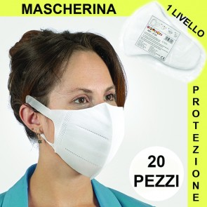 Mascherina di Protezione Respiratoria Mascherine Pacco da 20 Unità Primo livello di Sicurezza