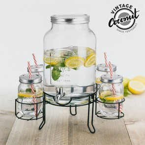 Dispenser di Bevande con 4 Bicchieri Vintage Coconut